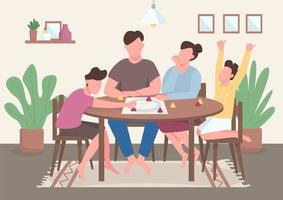 Family play board game flat color vector illustration