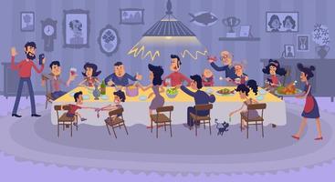 Big family gathering together flat illustration vector