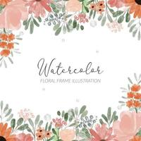 watercolor floral frame illustration with peony and petal flower vector