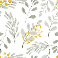 watercolor gold leaf foliage seamless pattern vector