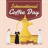 International coffee day social media post mockup vector