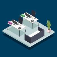 Ilustración de vector de color isométrico de sala de oficina moderna