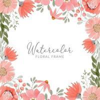 floral arrangement bouquet in peach watercolor frame vector