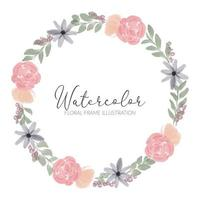 watercolor floral circle wreath frame illustration vector