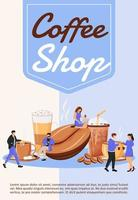 Coffee shop poster flat vector template