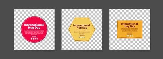 Social media post templates for international hug day.