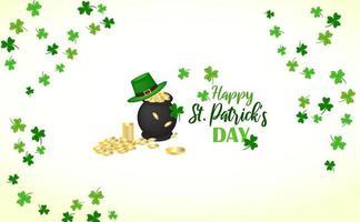 feliz st. diseño del día de patricio con caldero con monedas, tréboles y sombrero.