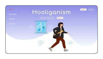 Hooliganism landing page flat color vector template