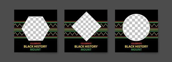 colección de publicaciones en redes sociales del mes de la historia negra. celebrando el mes de la historia negra. vector