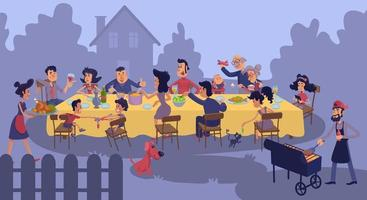 Big family gathering at table outdoors flat color vector illustration