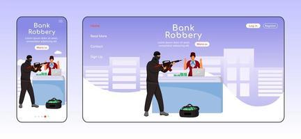 plantilla de vector de color plano de página de aterrizaje adaptable de robo de banco