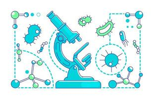 Microbiology thin line concept vector illustration