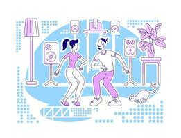 Dancing at home flat silhouette vector illustration