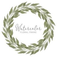 watercolor leaf botanical floral circle wreath vector
