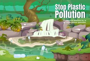 Stop plastic pollution poster flat vector template