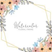 watercolor colorful petal flower rustic frame vector
