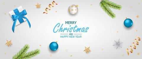 Merry Christmas greeting banner. Xmas decorative design elements with gifts box.