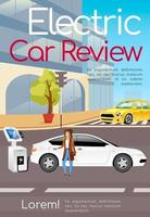 Electric car review poster flat vector template