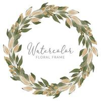 watercolor green leaf circle wreath with golden foliage vector
