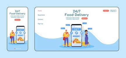 24 hours food delivery adaptive landing page flat color vector template