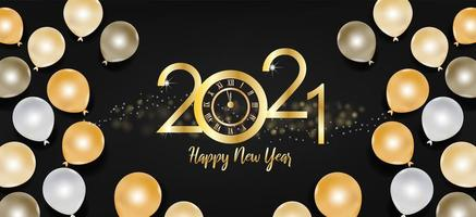 Happy new year 2021 text and gold and black balloons vector