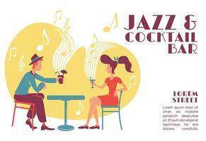 Plantilla de vector plano de banner de jazz y cóctel
