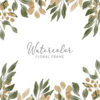 watercolor green leaf frame with golden foliage vector