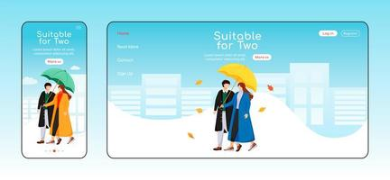 Suitable for two umbrella landing page flat color vector template