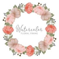watercolor peony flower wreath frame vector