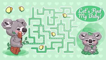 vamos a encontrar mi bebé laberinto verde con plantilla de personaje de dibujos animados vector