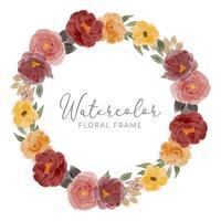 watercolor rose flower arrangement wreath frame vector