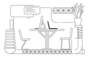 Ilustración de vector de contorno de sala de comunicación de oficina