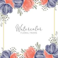 watercolor peony flower square golden frame vector