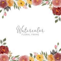 marco cuadrado de arreglo floral rosa acuarela