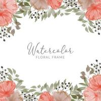 watercolor peony flower square frame vector