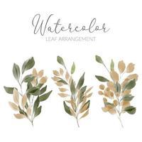 Ilustración de hoja verde acuarela con follaje dorado vector