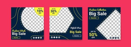 Social media post templates for fashion week. Social media post template for digital marketing and sale promo. fashion advertising. Social media banner offer. vector