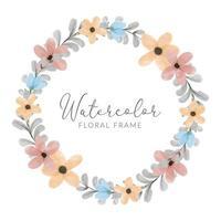 watercolor colorful petal flower wreath frame vector