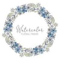 watercolor blue petal floral wreath frame vector