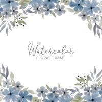 watercolor blue petal floral square frame vector