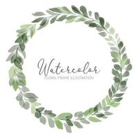 watercolor foliage wreath leaf frame illustration vector