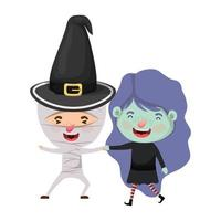 cute little kids with witch and mummy costume vector