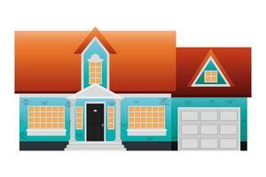 house front facade scene icon vector