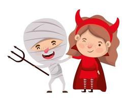 cute little kids with mummy and devil costume vector