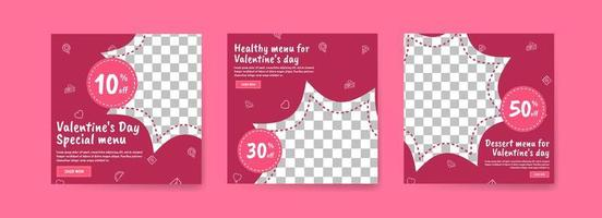 Social media post template for digital marketing and sales promotion on Valentine's Day. Advertising for Valentine's Day special food menus. Nice healthy food for valentine's day vector