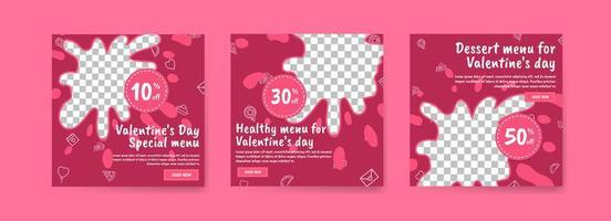 Social media post template for digital marketing and sales promotion on Valentine's Day. Advertising for Valentine's Day special food menus. Nice healthy food for valentine's day