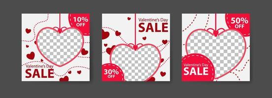 Social media post templates for digital marketing and sales promotion on Valentine's Day. fashion advertising. Offer social media banners. vector photo frame mockup illustration