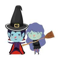 lindos niños pequeños con disfraz de drácula y bruja vector