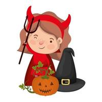 cute little girl with devil costume and pumpkin