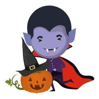 cute little boy with dracula costume and pumpkin
